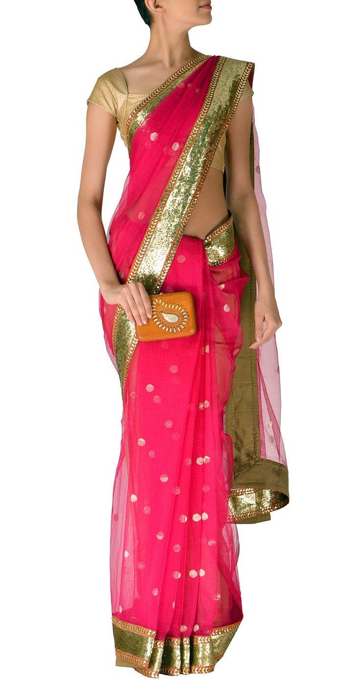 Sabyasachi Pink chanderi saree with sequinned border - LOOK WHAT'S HOTTER THAN VICTORIA'S SECRET! TRY THIS LINGERIE ON FOR SIZE FOR JUST $6! http://selz.co/198i9iK