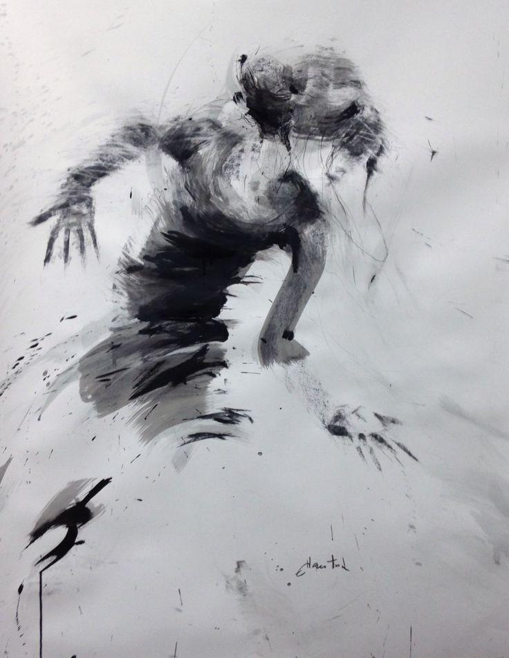 danse, le don (Peinture),  95x130 cm par Ewa Hauton (ewah) encre de chine sur papier