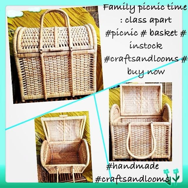 Picnic Basket Instock, Handmade Cane product. Contact us at creative@craftsandlooms.com , single to bulk orders - ready.