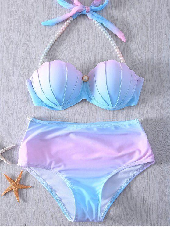 Pearl Halter Ombre Underwire Seashell Bikini - BLUE AND PINK XL Mobile