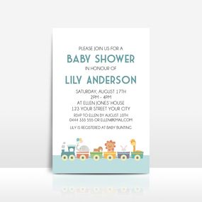 Toy animal train on white baby shower invitation
