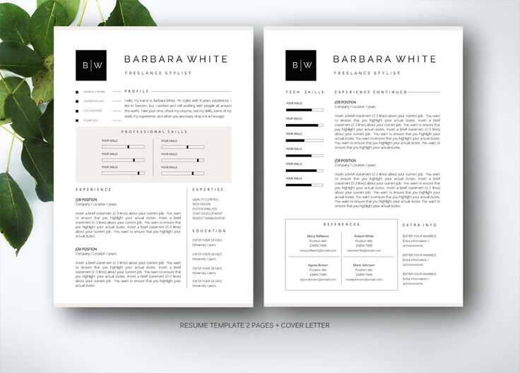 Resume template for MS Word by Fortunelle Resumes on @creativemarket