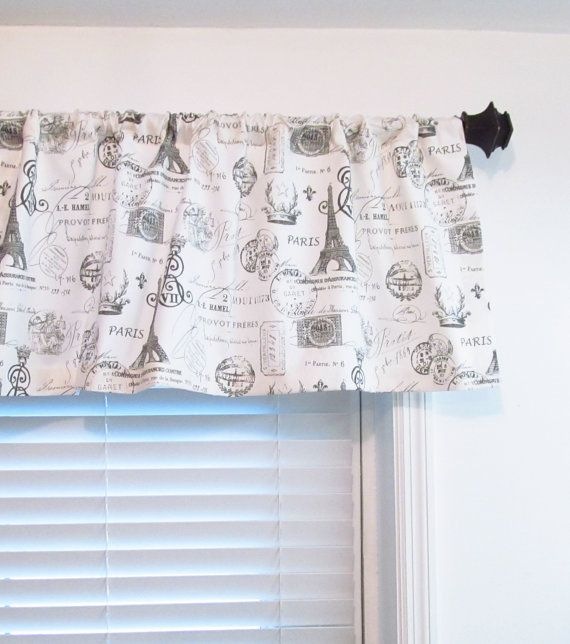 French Stamp Eiffel Tower Window Valance Sherbet Gray Custom Sizing Available