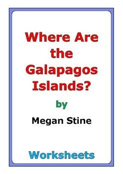 "This is a 45-page set of worksheets for the book ""Where Are the Galapagos Islands?"" by Megan Stine. This includes a four-page story test. There are three worksheets for each chapter: * comprehension questions * vocabulary * story analysis Also, there are twenty-one worksheets at the end: * story review * language skills * story reflection * review activity * cause and effect * compare and contrast * illustrations * animals * book design * news report * critical thinking * in..."
