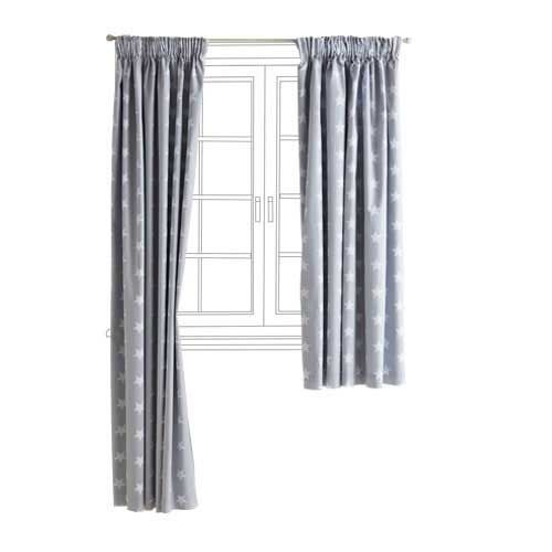 Children's Blackout Curtains - Grey Star