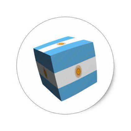 Argentinian flag cubed classic round sticker - sticker stickers custom unique cool diy