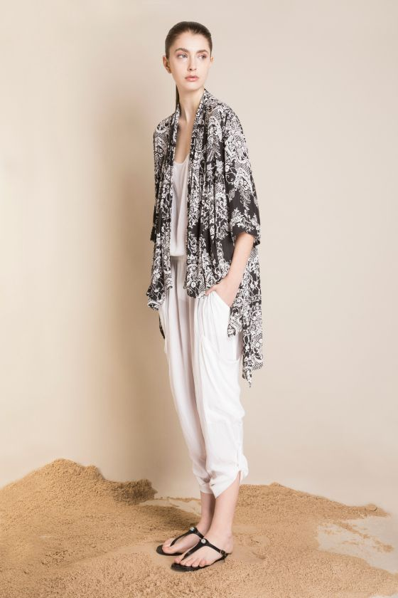 Mela Purdie kimono, tank and cargo pants