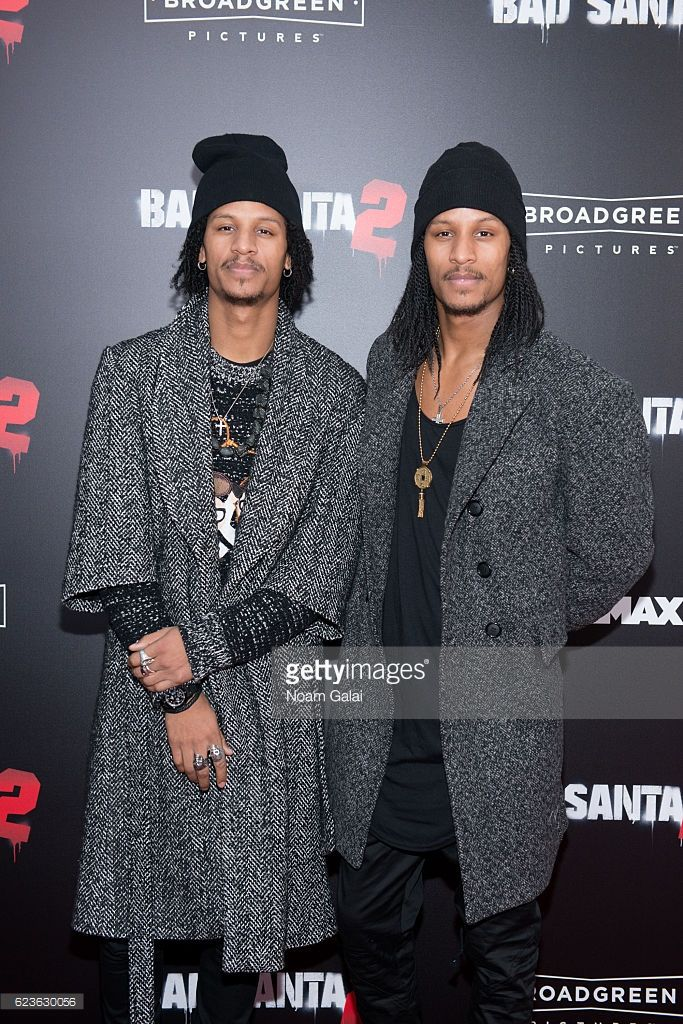 Laurent Nicolas Bourgeois and Larry Nicolas Bourgeois of Les Twins attend the 'Bad Santa 2' New York premiere at AMC Loews Lincoln Square 13 theater on November 15, 2016 in New York City.
