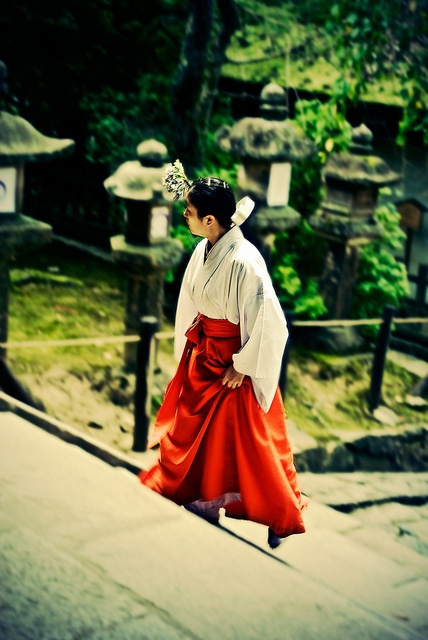 Miko Shrine Maiden at Kasuga shrine, Nara