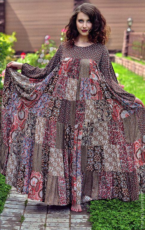 Купить Платье лоскутное из штапеля - разноцветный, абстрактный, платье лоскутное, пэчворк, платье пэчворк