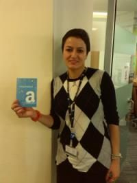 Asal collects the Amazon voucher for our Freshers' prize draw!  Oct 2013