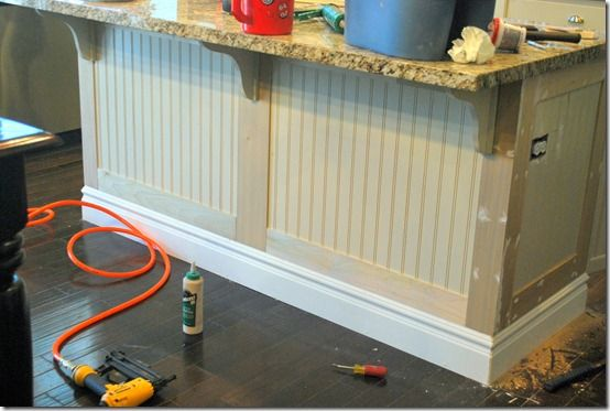 Kitchen island - using baseboard to make it look more like furniture