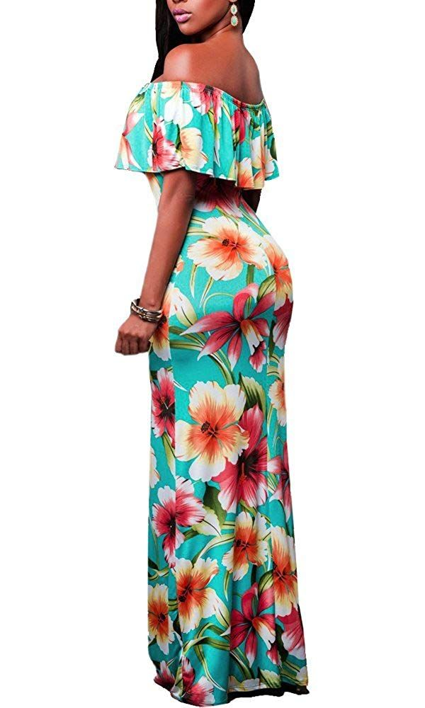 fc783043bf3 Suimiki Vintage Ruffle Plain Floral Printed Off Shoulder Bodycon Long Party Maxi  Dress Orange Medium at