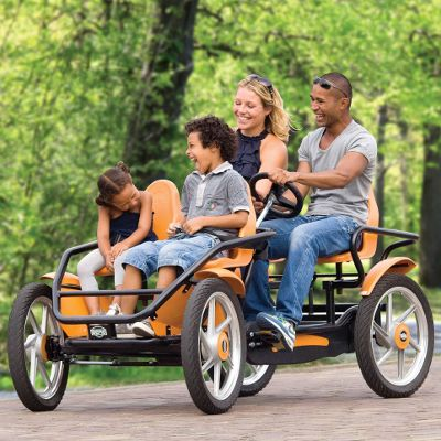 "Four Person Pedal Car: ""Those smaller tandem bikes  are really not enough.  For the entire family,  this quadrocycle's up to snuff.    Fleets of bikes to get somewhere  are really not ideal.  Step into the bike pool lane  in these four-person wheels!"""