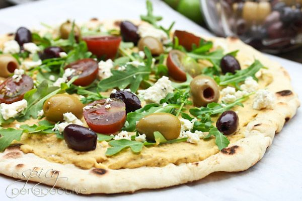 Yummy Grilled Greek Pizza Made with Hummus!