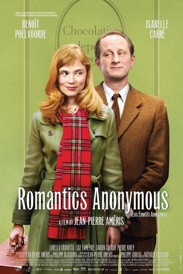 Romantics Anonymous (Les Émotifs Anonymes): An extremely shy chocolatier and an anxious chocolate factory owner fall for each other in Romantics Anonymous (Les Émotifs Anonymes).