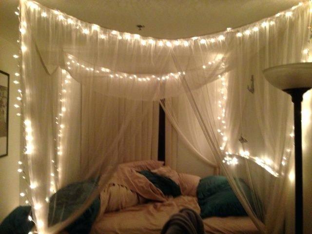 Gut Aussehende Diy Ideen Himmelbett Bett Lichter Schlafzimmer