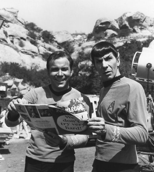 William Shatner and Leonard Nimoy reading a MAD magazine on the set of Star Trek