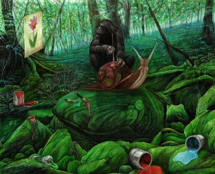 In the Studio | 50 x 40 cm | Acrylic Paint, Oil Pastels and Watercolour Pencils On Hardboard | ® Krzysztof Polaczenko 2015