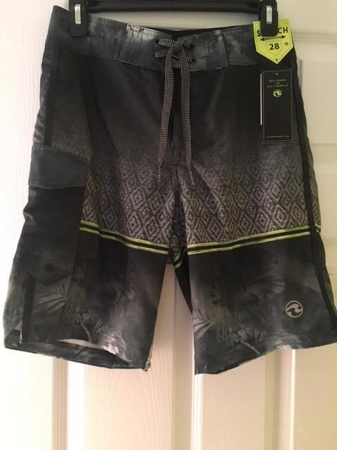 771084da29 NWT - Boys OCEAN CURRENT Stretch Gray Geometric Swim Board Shorts Sz 28  Waist #fashion