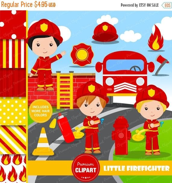 70% OFF SALE Firefighter clipart, Firefighter party clipart, fireman digital image, fireman graphics, firefighter - CL134 by PremiumClipart on Etsy
