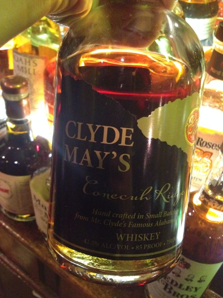 Clyde May's Whiskey *Alabama style - oven dried apples added to barrels *Clyde May was a moonshiner and craftsman *made using copper stills, fresh Alabama spring water, local grains and aged whiskey in charred oak barrels for four years *caramel, butterscotch, cinnamon and apples *strong but alcohol mellows as it opens up *touch of raisins and dried figs *super delicious!!