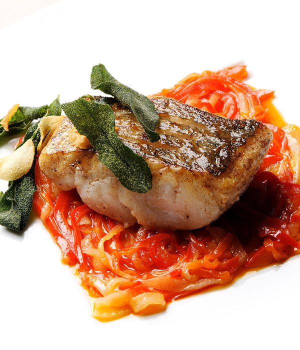 This beautiful pan-fried hake recipe by Pascal Aussignac includes a red pepper relish and is a fantastic dish for the summer.