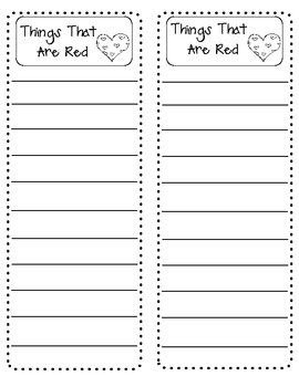 (sample page) Writing Center - Writing A List Activity. $