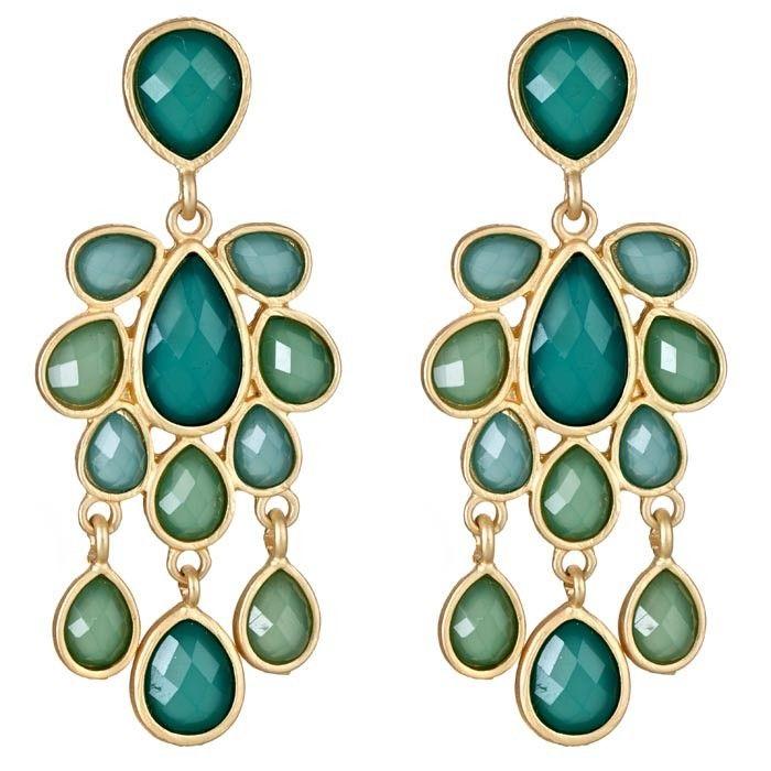 Jewel Cabana Chandelier Earrings in Emerald