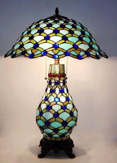 Tiffany Lamp Original On Peacock Design Lighted Base Tiffany Style Table  Lamp
