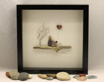 Foto di arte di ghiaia coppia seduti su una panchina regalo