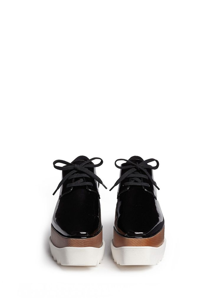 Stella Mccartney 'Elyse' Wood Platform Derbies in Black