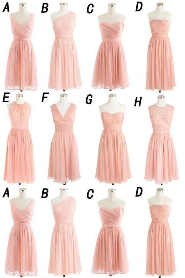Chiffon Bridesmaid Dress Bridesmaid Dress Simple Pink Weddi Chiffon Bridesmaid Dresses Short Pink Bridesmaid Dresses Mismatched Pink Bridesmaid Dresses Short