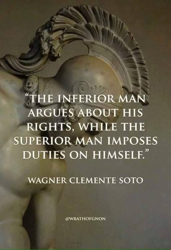 The inferior person argues about their rights, while the superior person imposes duties on themselves.