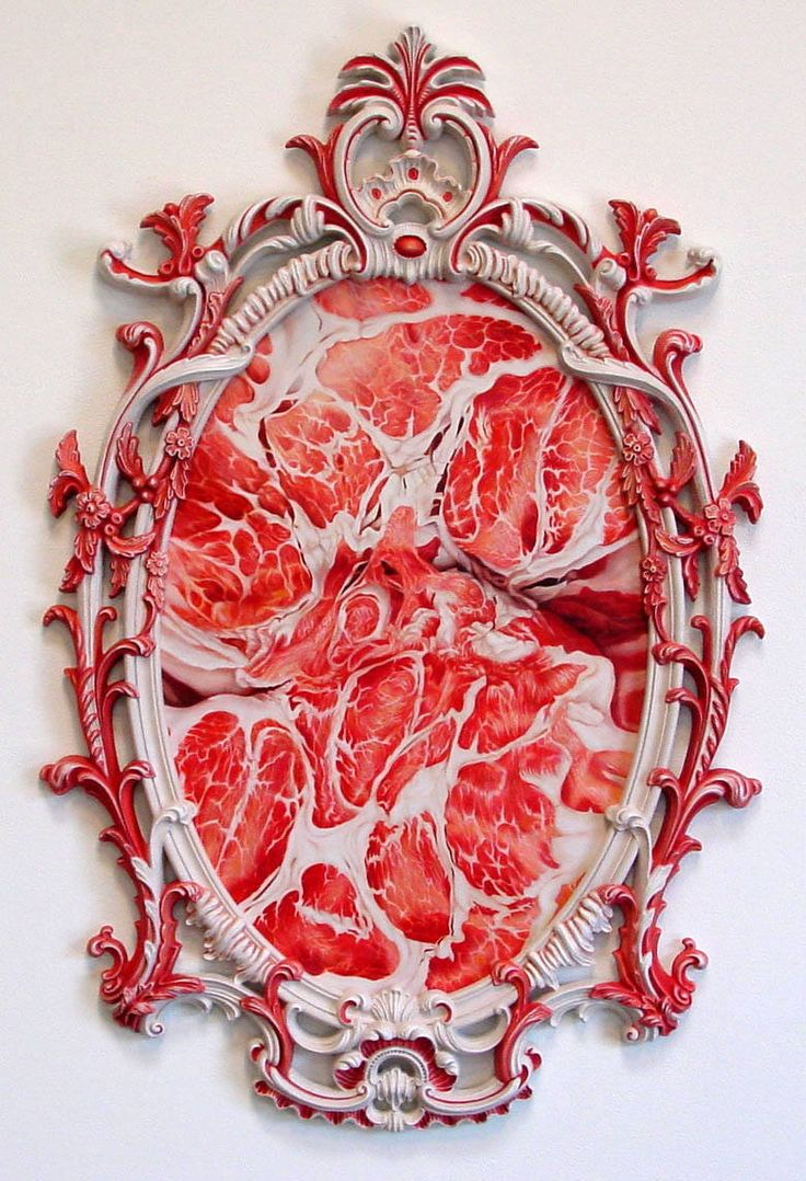 Victoria Reynolds' oil paintings of raw meat, mounted in ornate found object frame