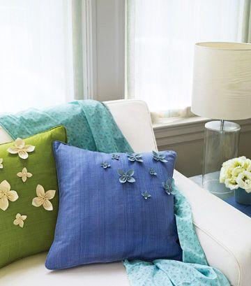 Украсить подушки, подушки своими руками, украшения для спальни