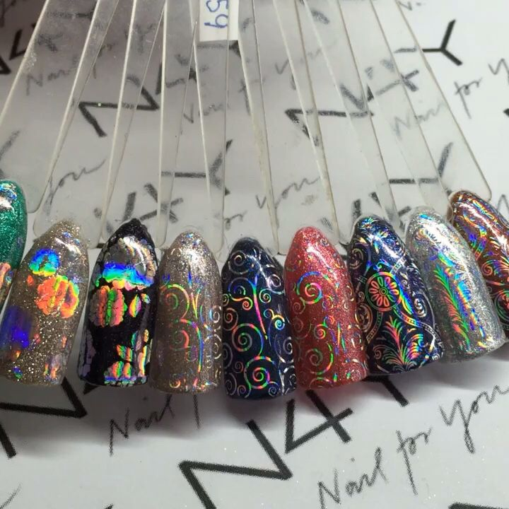 Nye negle transfer folier i shoppen nail4you.dk holo negle folie med tryk på holo nail art.