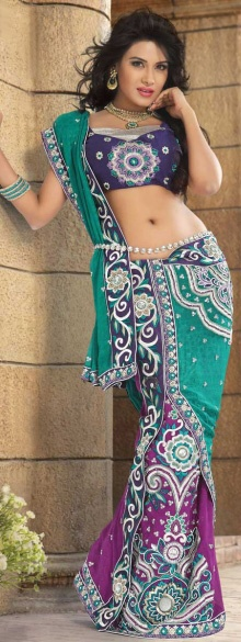 Persian Green and Purple Net Embroidered Lehenga Style Saree