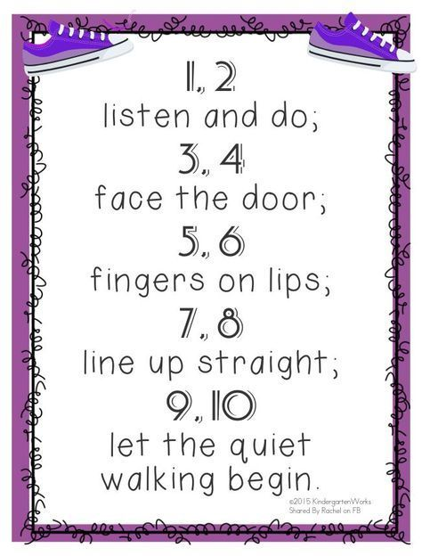 1, 2 listen and do; 3, 4 face the door; 5, 6 fingers on lips; 7, 8 line up straight; 9, 10 let the quiet walking begin. 5 Quick Hallway Transitions for Kindergarten {Free Printables}
