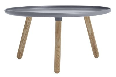 Tablo Round Coffee Table Warm Grey Top, Ash Legs, Large