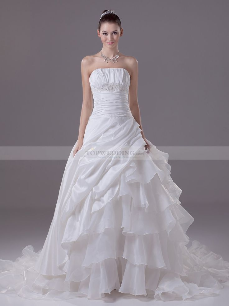 Strapless Pleated Taffeta and Organza Wedding Gown with Pick Ups
