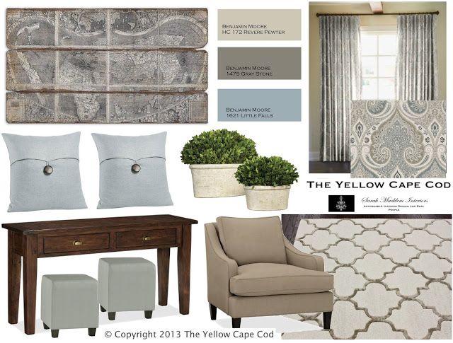 The yellow cape cod inspiration board designer sarah for Cape cod interior designs