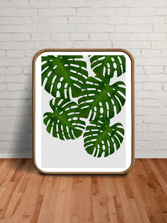 Printable Art, Acrylic Painting, Oil Painting, Green, Ink Art, Watercolour, Green Wall Art, Green Decor, Monstera Deliciosa, Olive Green