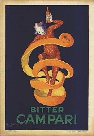 Bitter Campari, Leonetto Cappiello,      original stone lithograph.   orange peel Campari manifesto