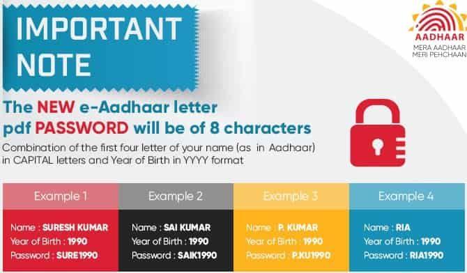 what is e aadhar pdf password