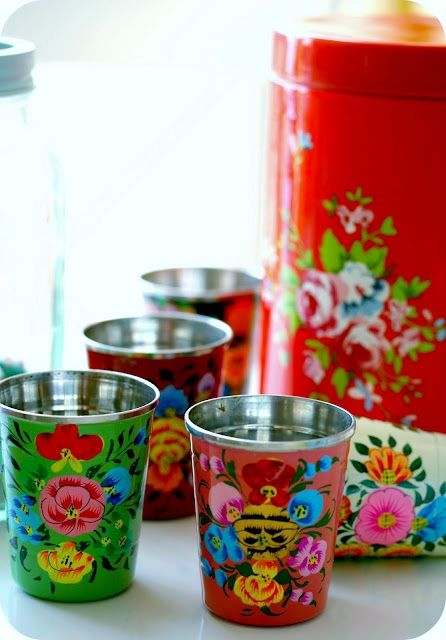 Kashmiri cups and tins, so pretty and colorful! http://cocorosetextiles.blogspot.com/2011/09/change.html