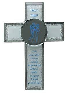 Faithful Guardian Angel Cross, Glass Baby Angel Christening keepsake gifts