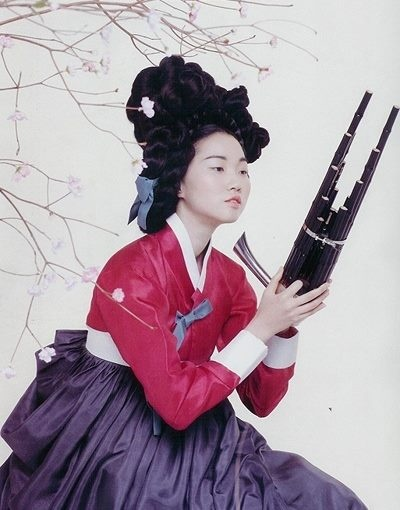 Vogue Korea Hanbok collection     with Korean instrument