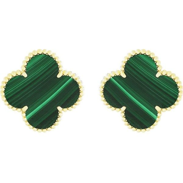 VAN CLEEF & ARPELS Magic Alhambra gold and malachite earrings. More luxury inspirations on insplosion.com