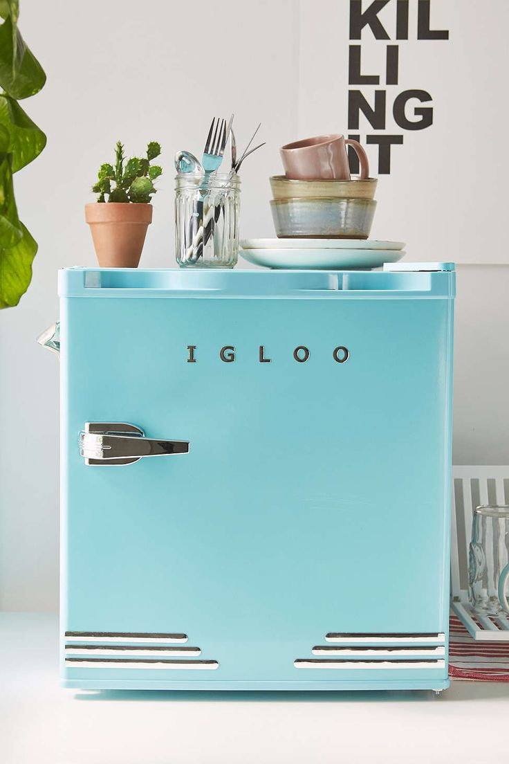 Cute blue Mini Refrigerator - Urban Outfitters